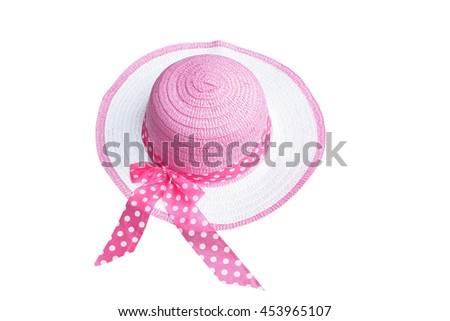 pink women hat isolated on white background,with clipping path
