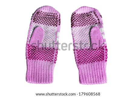 Pink wool knitted mittens on white background