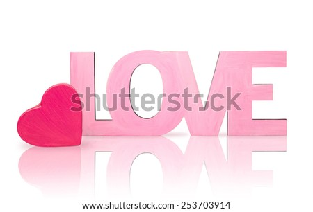 "Pink word ""love"" with a box in the shape of heart  isolated on white"