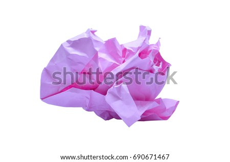 Pink wrinkled paper ball isolated on white background, symbol of recycling and wasting our resources,clipping path