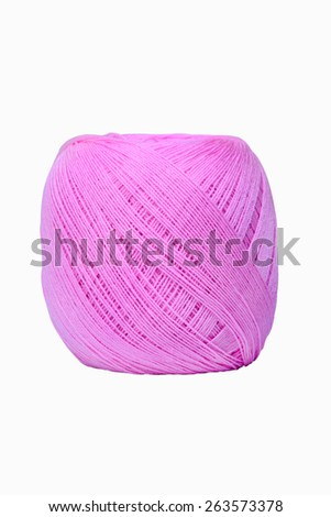 Pink Yarn for knitting isolated on white background - stock photo