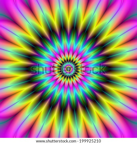 Pink Yellow and Green Flower / A digital abstract fractal image with a flower design in yellow, green, pink and turquoise.