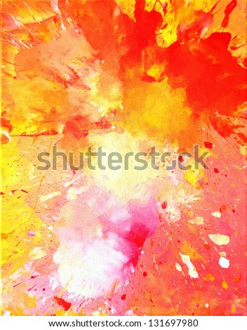 Pink, Yellow and Orange Abstract Art Painting - stock photo