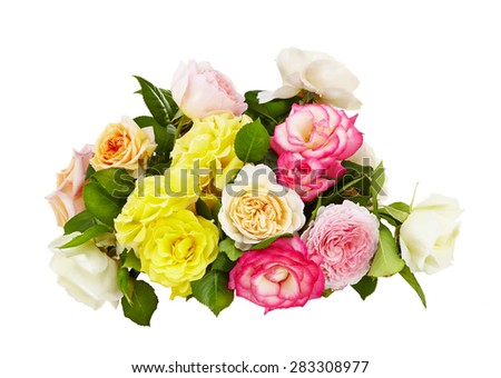pink,yellow and white roses bouquet on a white background