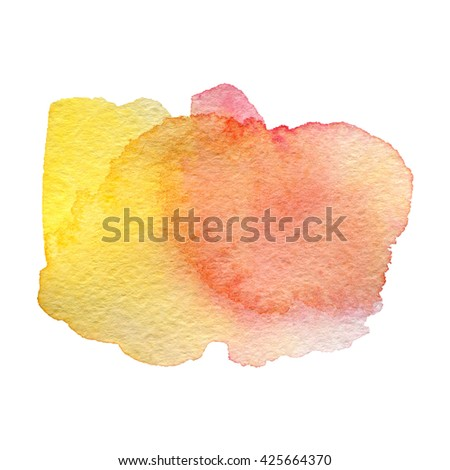 pink yellow watercolor hand painted background isolated on white - stock photo