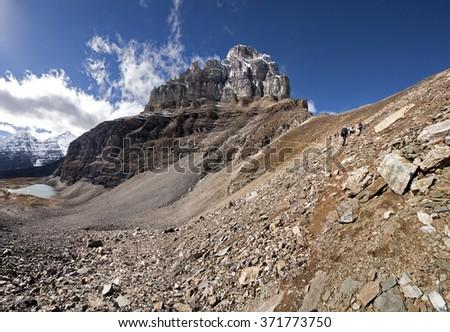 Pinnacle Mountain,  Sentinel Pass Hike, Lake Louise Banff National Park, Alberta, Canada Picture taken on September 26, 2015 - stock photo