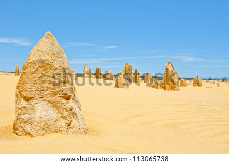 Pinnacles, Western Australia.It has been said that a long time ago there has been a forrest which was buried in sand and was dug out again by the wind leaving behind the fossels of the tree trunks.