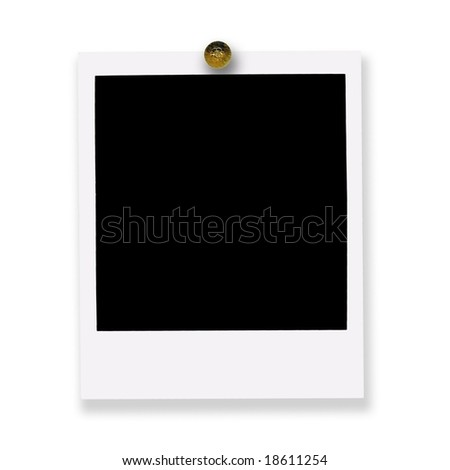 pinned instant photo film on white background - stock photo