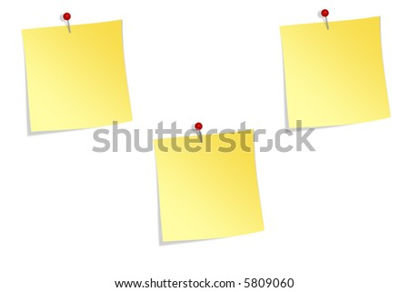 Pinned memo notes - stock photo