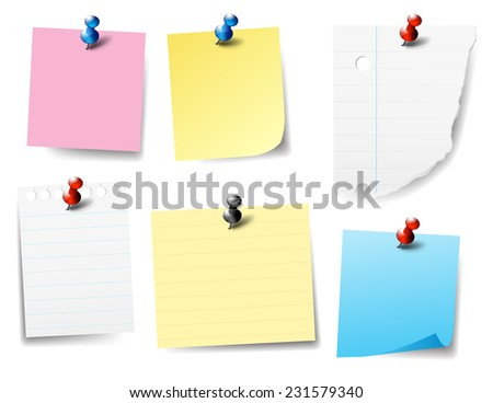 Pinned Paper Notes - Pieces of paper pinned - Push Pin - stock photo