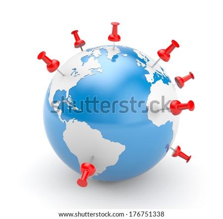 Pinned world - stock photo