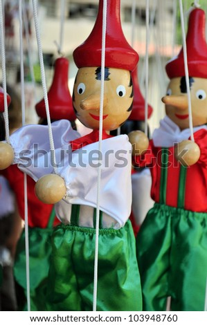 Pinocchio wooden italian marionette - stock photo