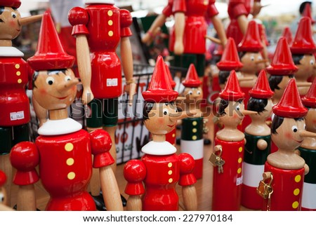 Pinokio souvenirs for sale in Verona, Italy, 18 September, 2014 - stock photo