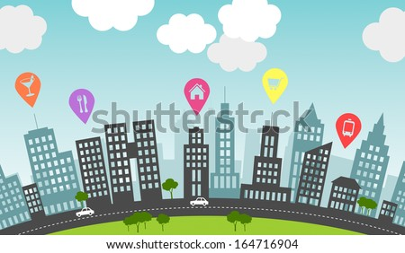 Pins mark particular spots in the city. Pins allow to search, save, share and access favorite locations. - stock photo