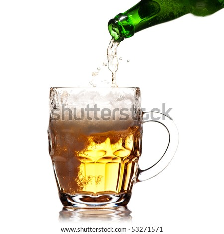 pint mug of beer on white background