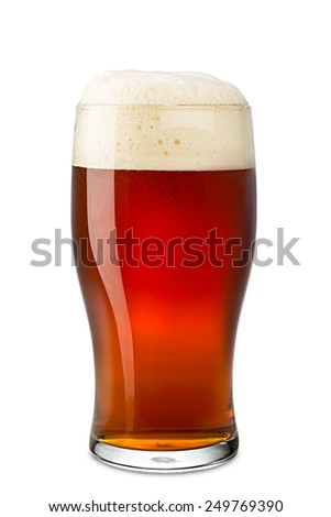 pint of brown ale on white background - stock photo