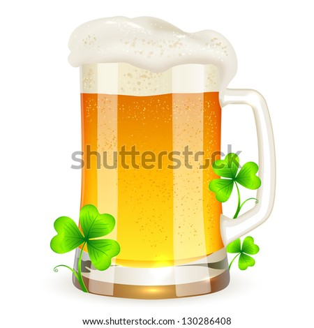 Pint of light beer with clovers for St. Patrick's Day. Raster illustration. Vector version also exist. - stock photo