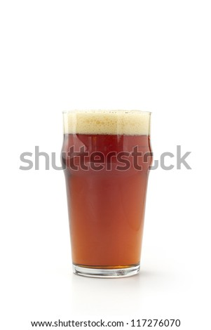 pint of red beer isolated on white background - stock photo
