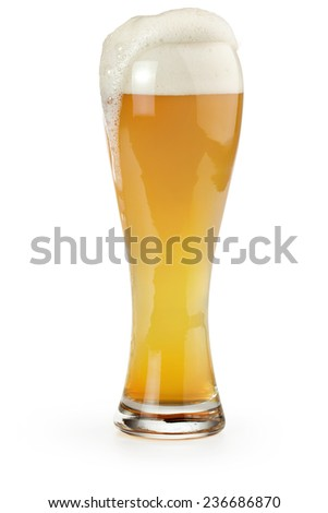 pint of wheat beer isolated on white background - stock photo