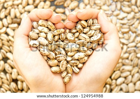 Pinto beans in woman hands forming heart shape - stock photo