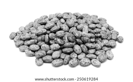 Pinto beans, isolated on a white background - monochrome processing - stock photo
