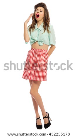 Pinup girl isolated on white