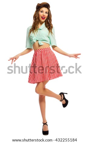Pinup girl isolated on white - stock photo