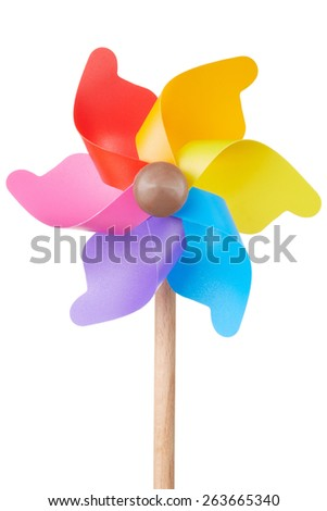 Pinwheel, colorful toy, isolated on white, clipping path included - stock photo
