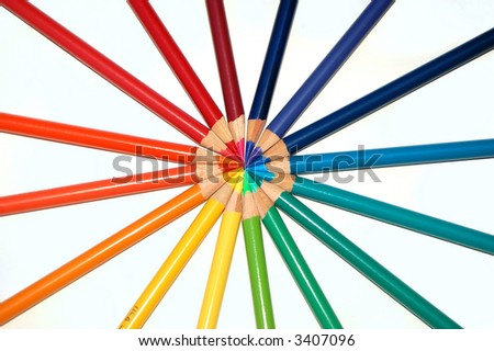 Pinwheel of Colored Pencils - stock photo