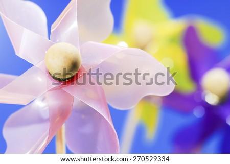 Pinwheel Pink Yellow Purple - stock photo