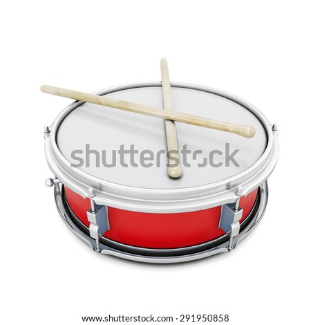 Pioneer drum isolated on white background. 3d illustration. Music instruments series.