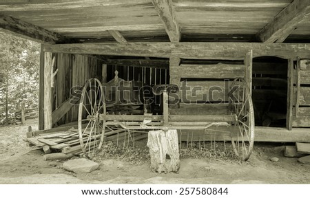 Pioneer Farming. Interior of a pioneer barn in the Great Smoky Mountains National Park. This is a public display on federal lands and is not privately owned property.