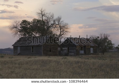 Pioneers cabin near Hot Springs, South Dakota - stock photo
