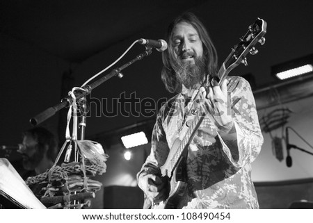 PIONEERTOWN, CA - JULY 21: Chris Robinson of Chris Robinson Brotherhood performs at the Freaks for the Festival at Pappy & Harriet's on July 21, 2012 in Pioneertown, CA.