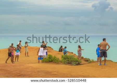 PIPA, BRAZIL, JANAURY - 2016 - Aerial view seascape landscape scene from top of rocky hill at Pipa, Brazil