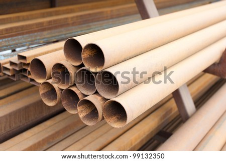 pipe and metal materials for constructions - stock photo