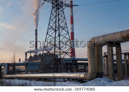 pipe and smoke heat electric station - stock photo