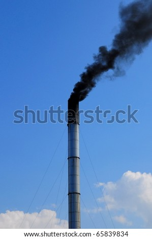 pipe black smoke emission - stock photo
