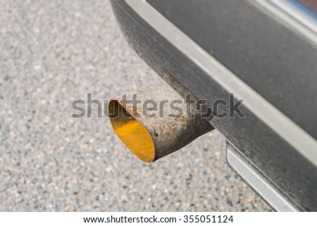 Pipe exhaust old car. - stock photo