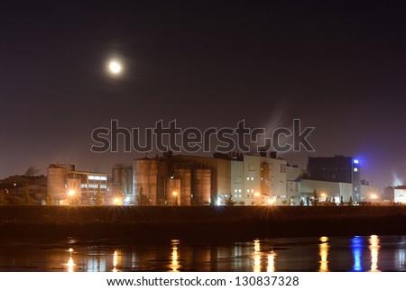 Pipe factory smoke emission - stock photo