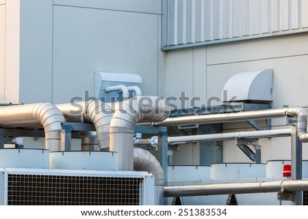 pipe for air control in factory - stock photo