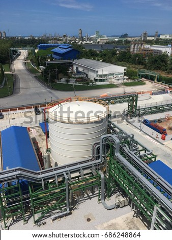 Pipe line structure in chemical plant , image for industrial business concept