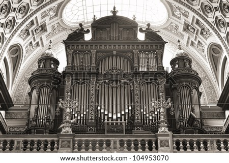 Pipe organ of St. Stephen's Basilica, Budapest, Hungary - stock photo