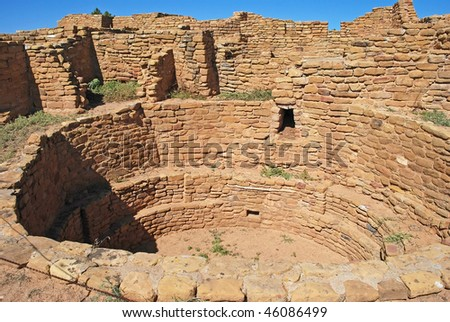 Pipe Shrine House Ruins - the remains of a Puebloan place of spiritual worship and communal gathering known as a Kiva.  Mesa Verde National Park, Colorado USA - stock photo