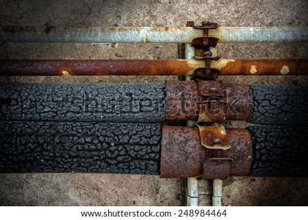 Pipe system of air-conditioning to rust - stock photo