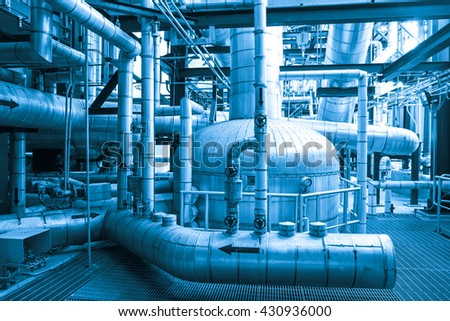 Pipe, valve and equipment of power plant (Blue tone)