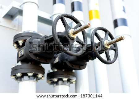 Pipe valve connection - stock photo