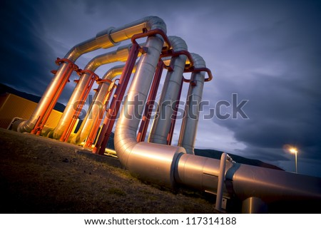 pipeline bridge - stock photo