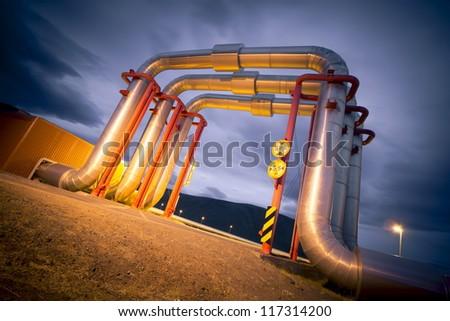 pipeline bridge - stock photo