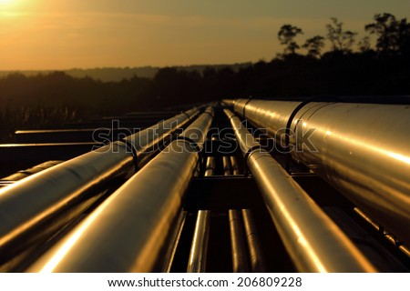 pipeline connection  from crude oil field  - stock photo